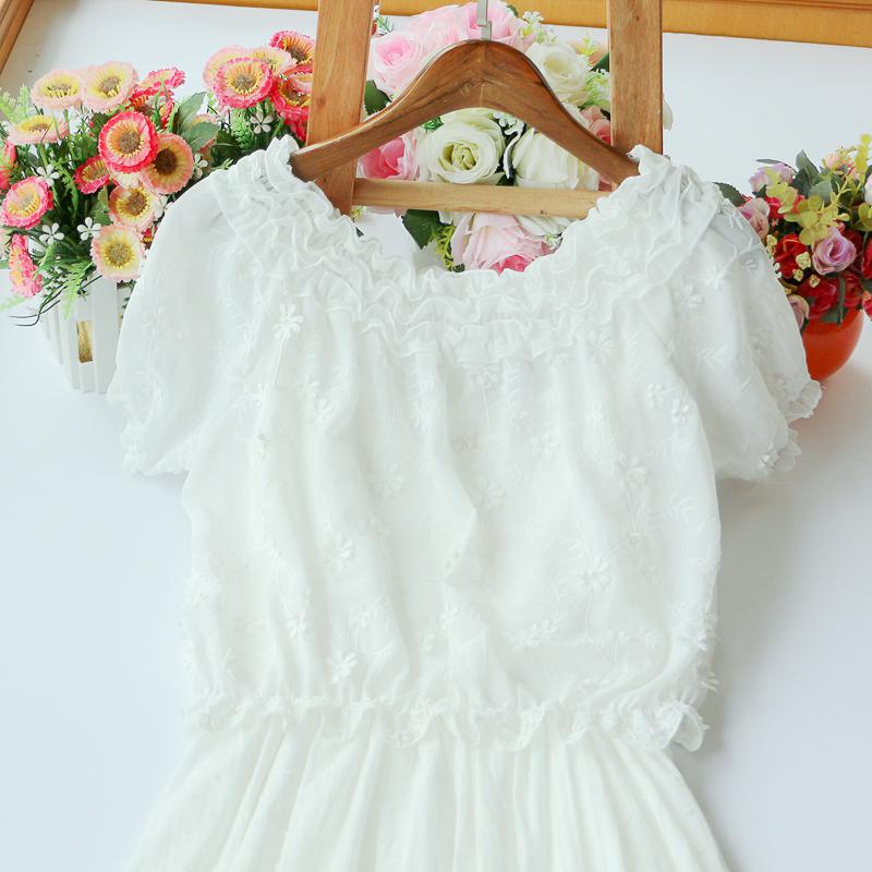 818款2018夏季新款森系女装绣花罩衫 吊带连衣裙两件套女学生裙子长裙图片