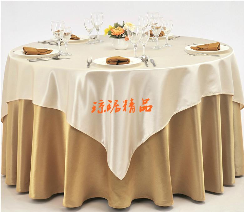 酒店桌布饭店台布圆桌布餐桌布布艺绸缎香槟色咖啡色桌布定制