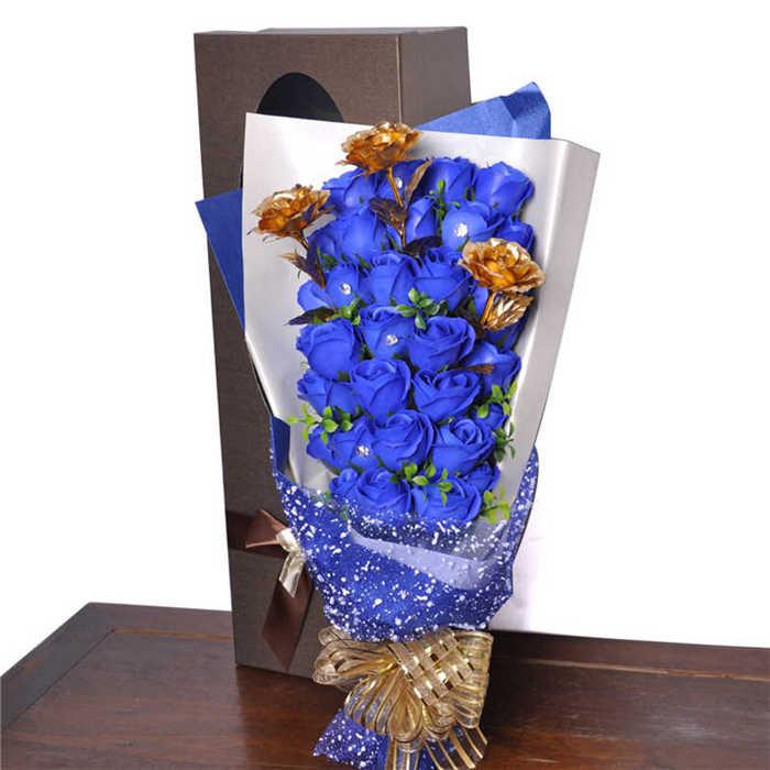 梦克拉 手工皂金箔玫瑰花花束 三生三世 蓝色