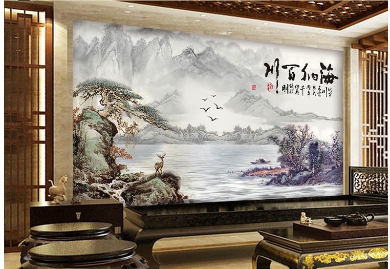 5d现代中式山水画壁纸客厅书房电视背景墙纸8d办公室壁画展厅5d无缝丝