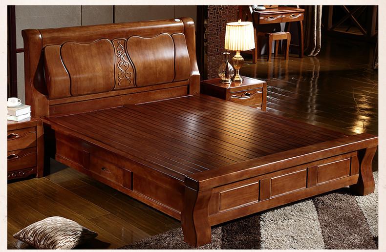 也美 现代中式实木床 进口橡木大床 1.8米双人床 卧室