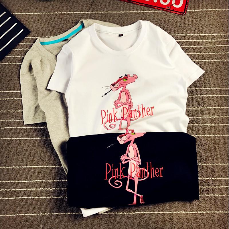 902新款2017夏季新款短袖粉红豹视频T恤女宽卡通萃取v短袖图片