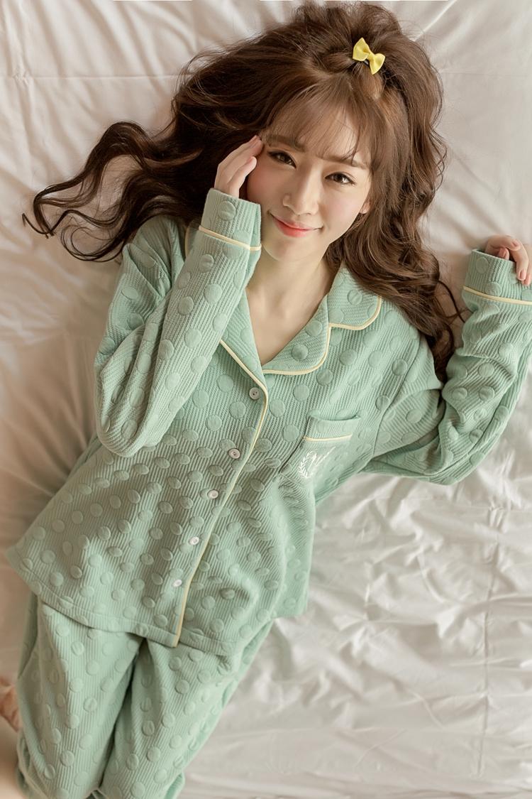 韩国睡衣女秋纯棉长袖2016韩版春季甜美可爱家居服套装全棉春秋款