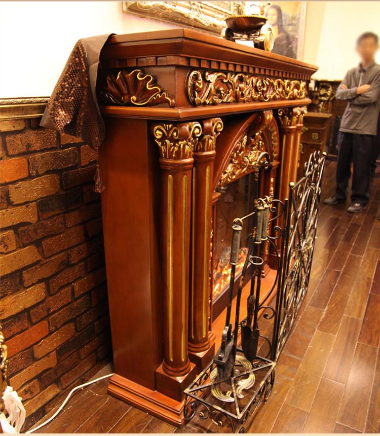 帝轩名典 欧式壁炉装饰柜 实木美式壁炉架 奢华描金 装饰取暖炉芯