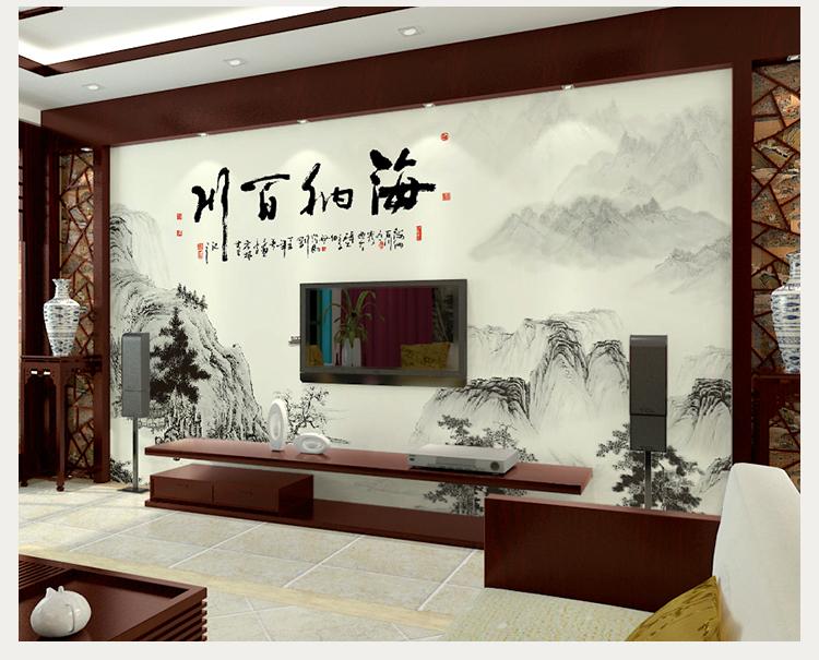 卡茵 中国风电视背景墙壁纸 水墨画客厅影视墙大型壁画 卧室新中式
