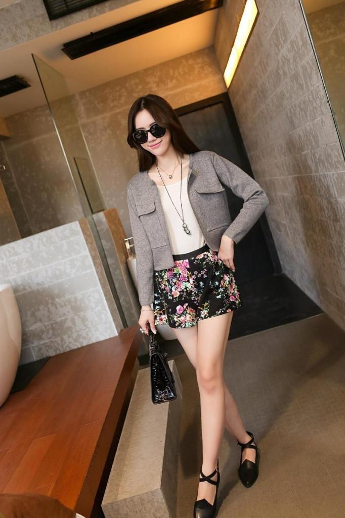 小�9.���j_樵jiao 2015春季新款韩版 女装纯色口袋针织衫 短款开衫小外套西装j