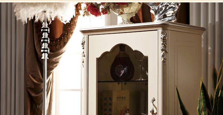 法莉娜 欧式酒柜 单门实木红酒柜小储酒柜 法式家具矮柜子 h46 七分哑图片