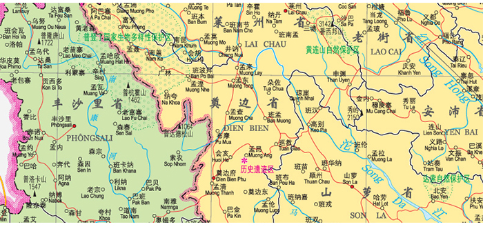 世界热点国家地图·越南 老挝 柬埔寨 (大字版)(1:1600000)