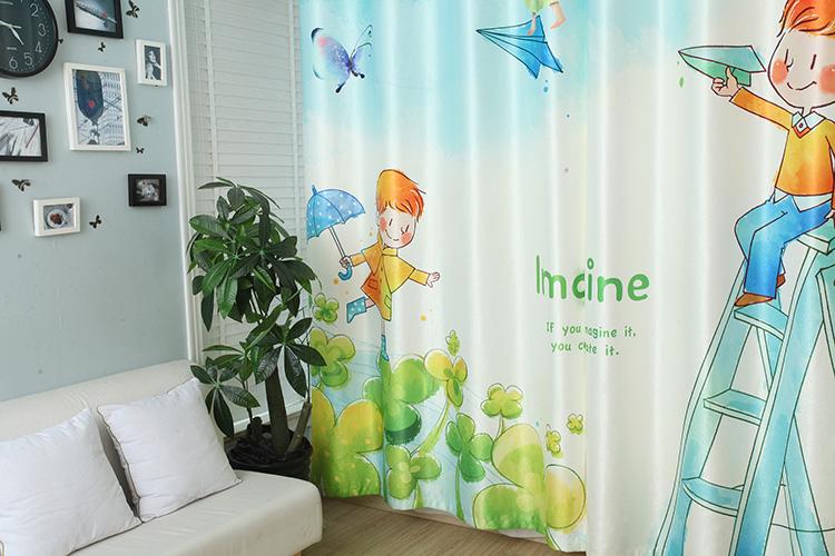 幼儿园窗帘3d数码印花纸飞机窗帘工程帘遮光窗帘布儿童窗帘