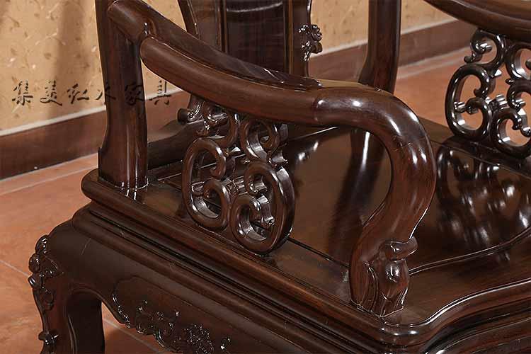 集美红木家具黑檀木红檀木全实木沙发五件套仿古雕花客厅组合沙发