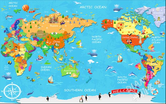 儿童动画手绘卡通英文版动物环球旅游世界地图儿童房墙纸壁纸壁画壹德