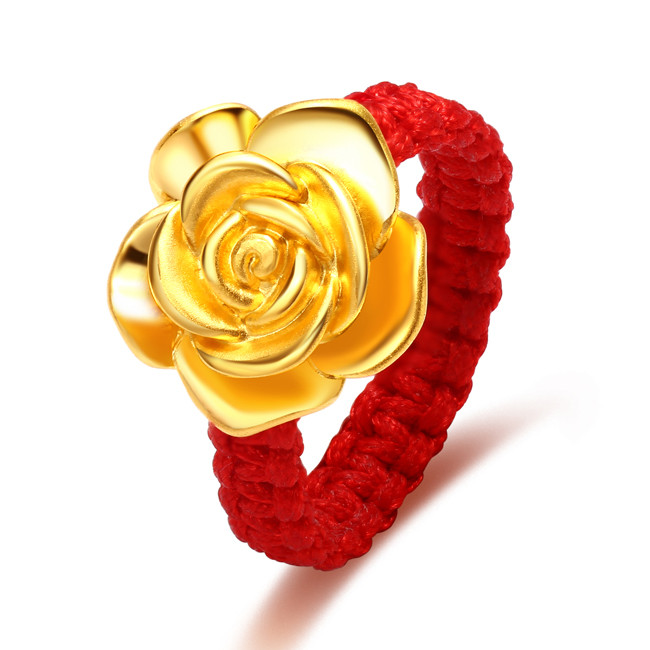 钻石快线 红绳黄金戒指 3d硬足金玫瑰转运珠红绳戒指女士足金戒指