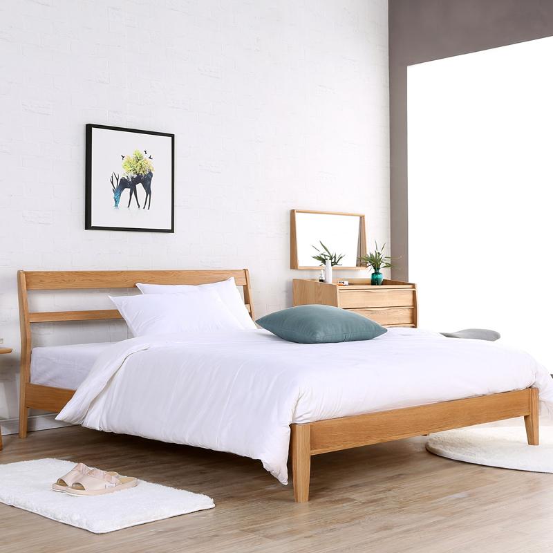 淮木实木床日式风格现代简约北欧橡木1.5米双人床婚床图片