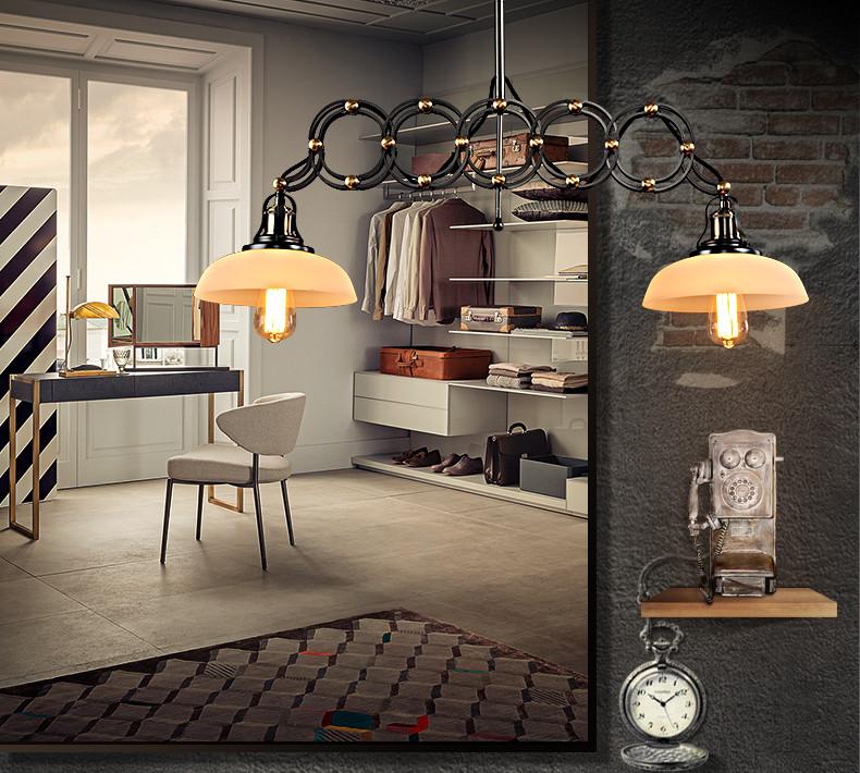 惟柯(wake)loft 复古创意美式工业风 双头玻璃罩希腊吊灯创意伸缩灯饰图片