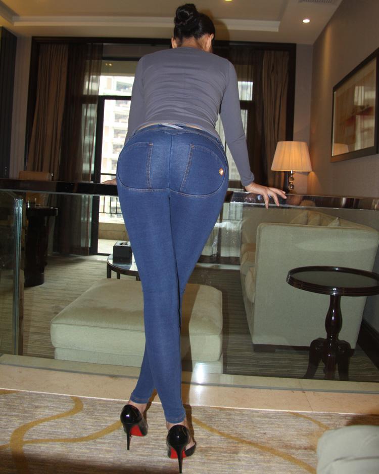 902新款春夏蜜桃臀紧身运动裤女长裤牛仔裤弹力美臀运动瑜珈健身牛仔