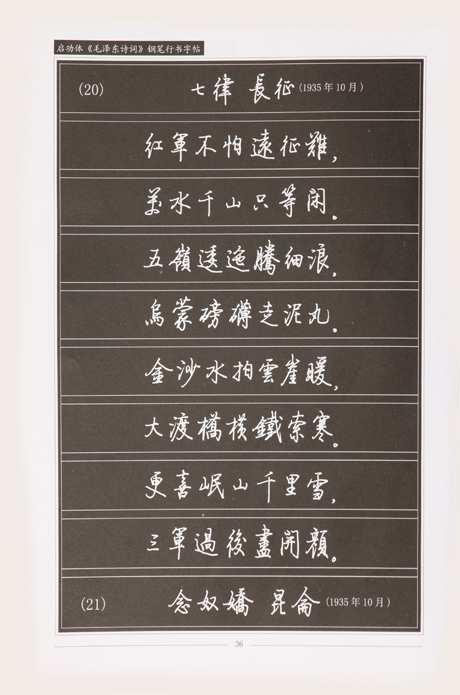 启功体《毛泽东诗词》钢笔行书字帖图片