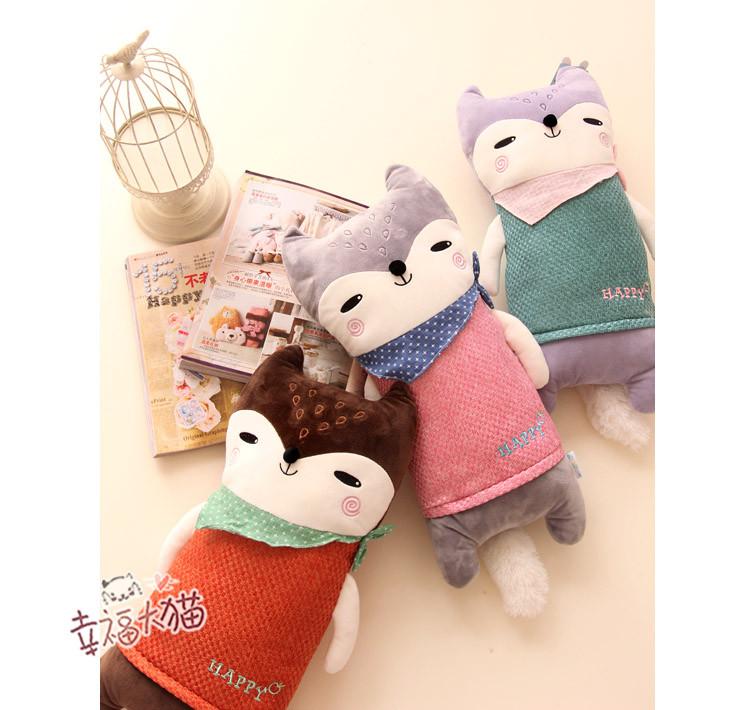 蓝白玩偶可爱小狐狸公仔抱枕毛绒玩具布娃娃亚麻靠垫