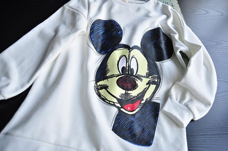 miss jojo秋冬新品t恤素描米老鼠两面图案套头卫衣女士宽松大码 白色