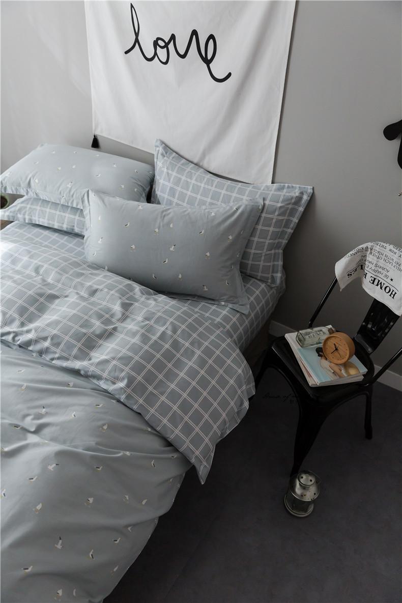 日式格子简约灰色款小清新全棉床单/床笠三/四件套纯棉1.5米1.8m