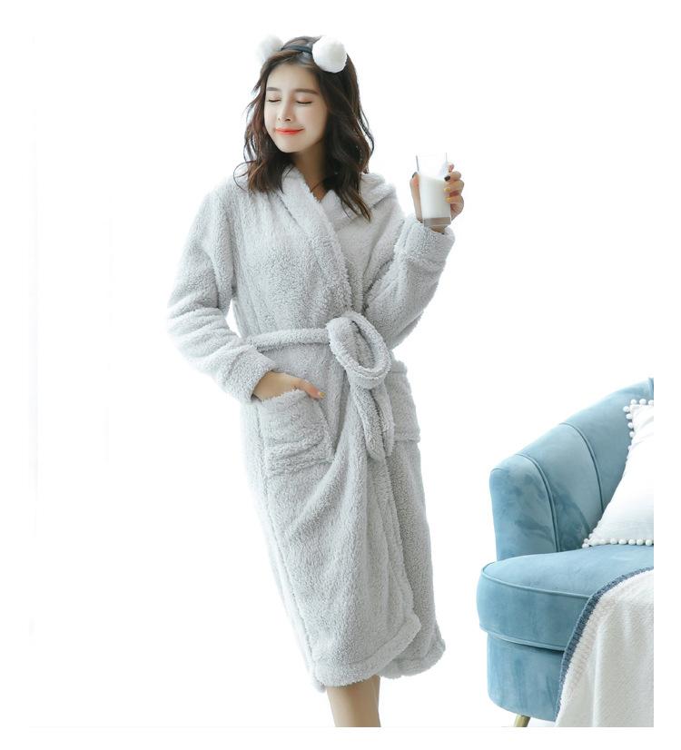 情吻缘秋冬季睡袍绒简笔加厚长毛绒羊羔少女可生睡袍小女图片