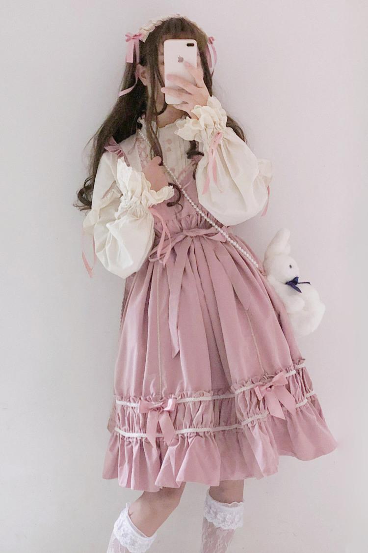 薇姬桑妮日系软妹jsk高腰lolita裙洛丽塔吊带连衣裙衬衫两件套大码图片
