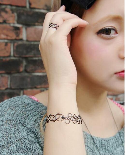 彩丽馆水原希子kiko同款原宿编织刺青纹身链项圈脖圈项链手链戒指 x03图片