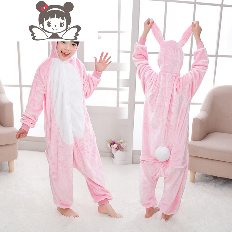 秋冬法兰绒儿童长颈鹿卡通连体睡衣男童女孩动物加厚如厕版家居服