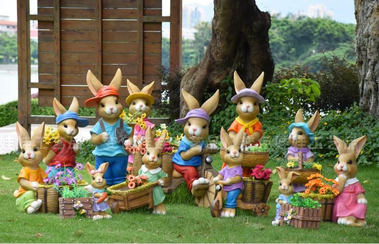 花园摆件幼儿园庭院户外园林景观雕塑卡通花缸兔子工艺品动物摆设