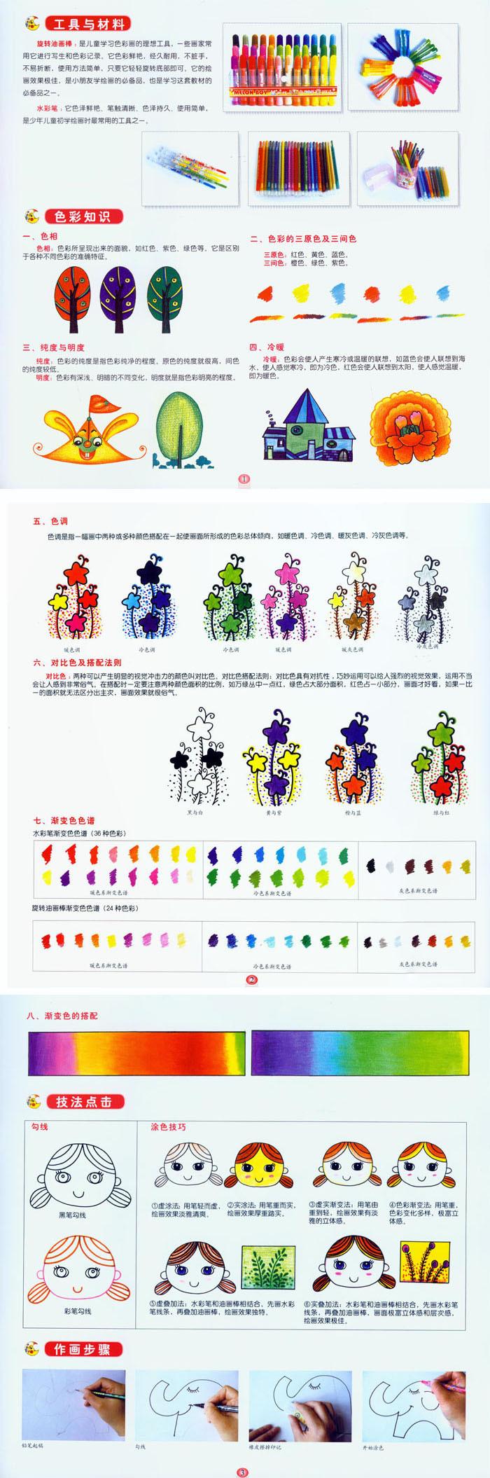 赵锦飞邵红梅主编儿童学画画教材入门 水彩笔画油画棒画教材