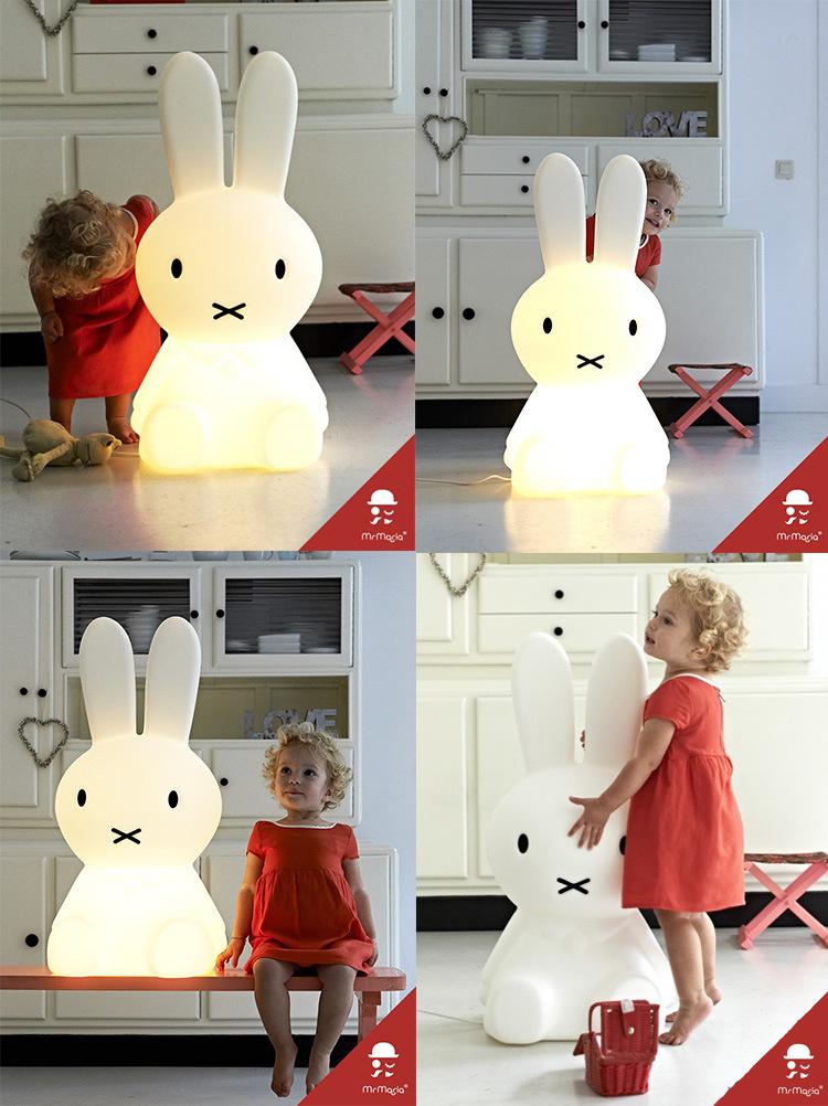 可爱兔子大小号小夜灯led灯小熊灯儿童房装饰v定制大款兔子插电版高80