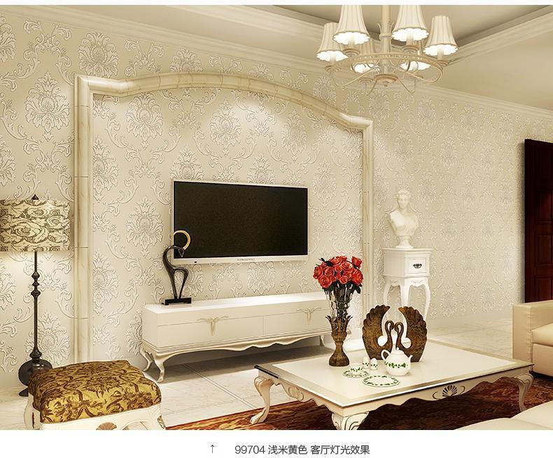 3d浮雕加厚无纺布立体小马士革欧式电视背景墙壁纸