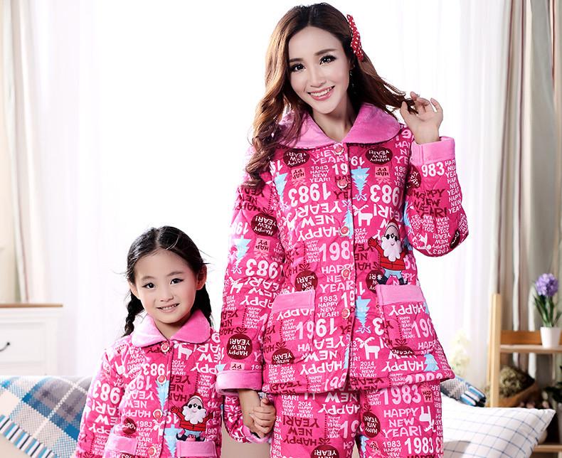 冬季三层加厚珊瑚绒夹棉亲子睡衣家庭装可爱卡通母女