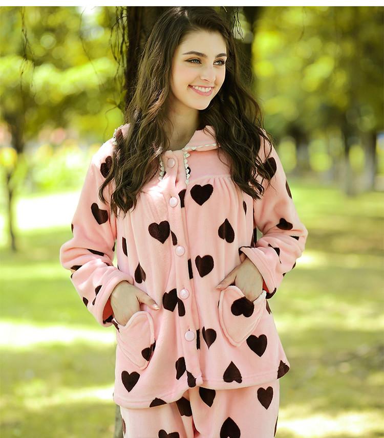 秋冬季睡衣女法兰绒甜美公主女士可爱心形