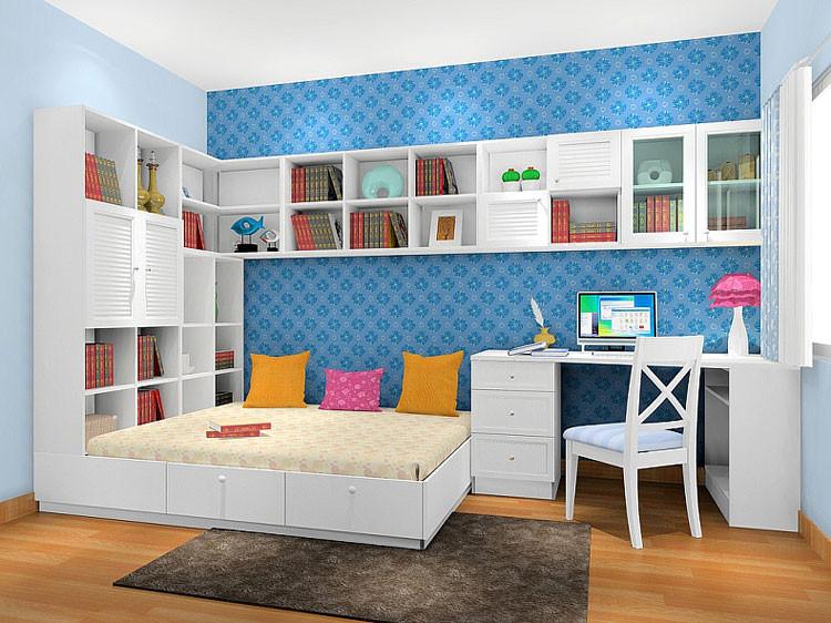 个性定制儿童衣柜床 榻榻米书柜图片
