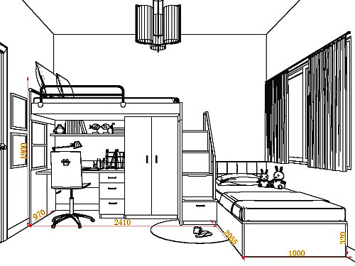 衣柜的手绘效果图