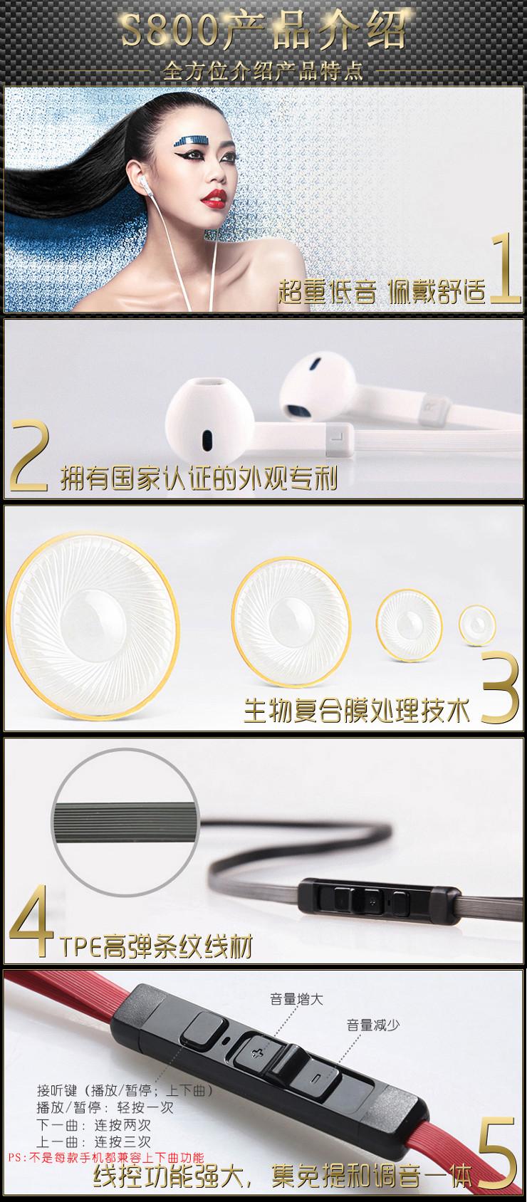 BYZS800耳机手机可调控麦克风音量带线高换手机给系统图片