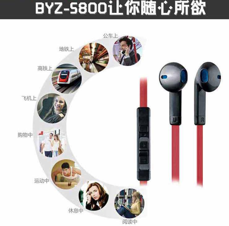 BYZS800手机手机可调控麦克风苹果带线高港版音量6耳机多少钱图片