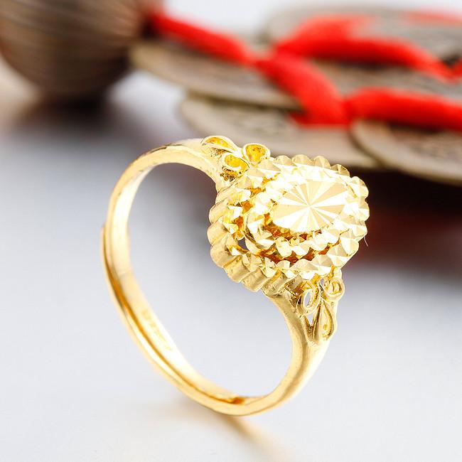 钻石快线 心约橄榄 千足金黄金女戒 结婚戒指女款 女士婚戒
