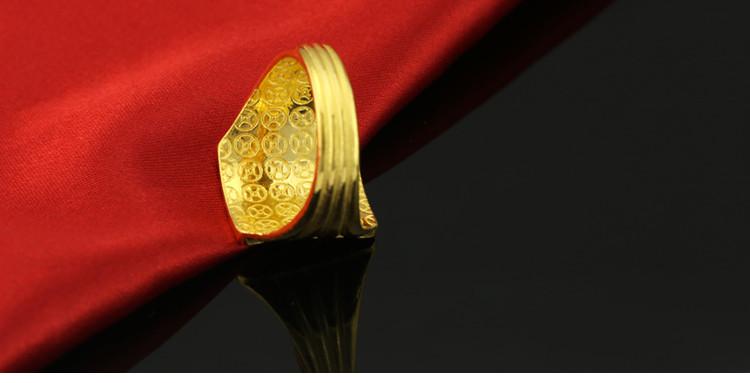 金地珠宝999千足金男士戒指大展宏图男戒男款黄金戒指指环送老公怎
