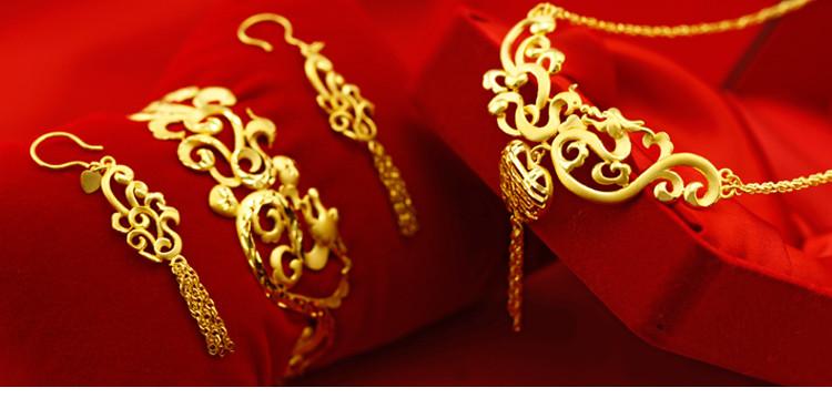 金地珠宝足金龙凤呈囍婚庆套装结婚套装婚嫁礼品高贵典雅大方