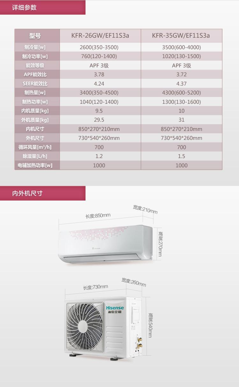 海信空调kfr-35gw/ef11s3a 1.5匹 挂式冷暖变频空调