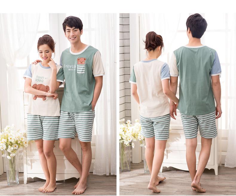 【静韵】静韵新款夏季装情侣睡衣短袖可爱小清新男女