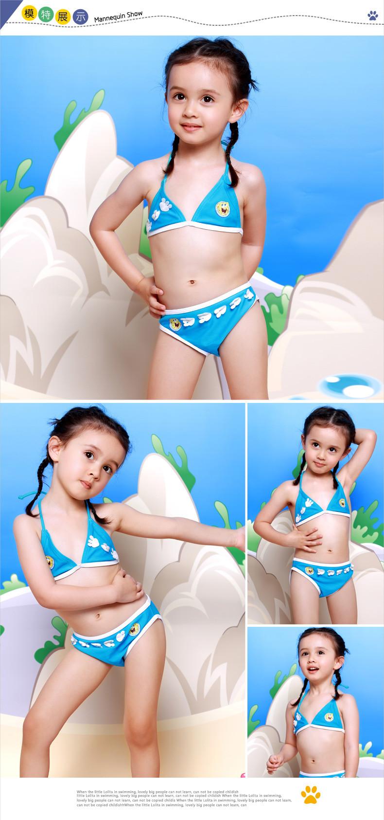 凯迪龙2014新款海绵宝宝儿童比基尼游泳衣女童宝宝ha