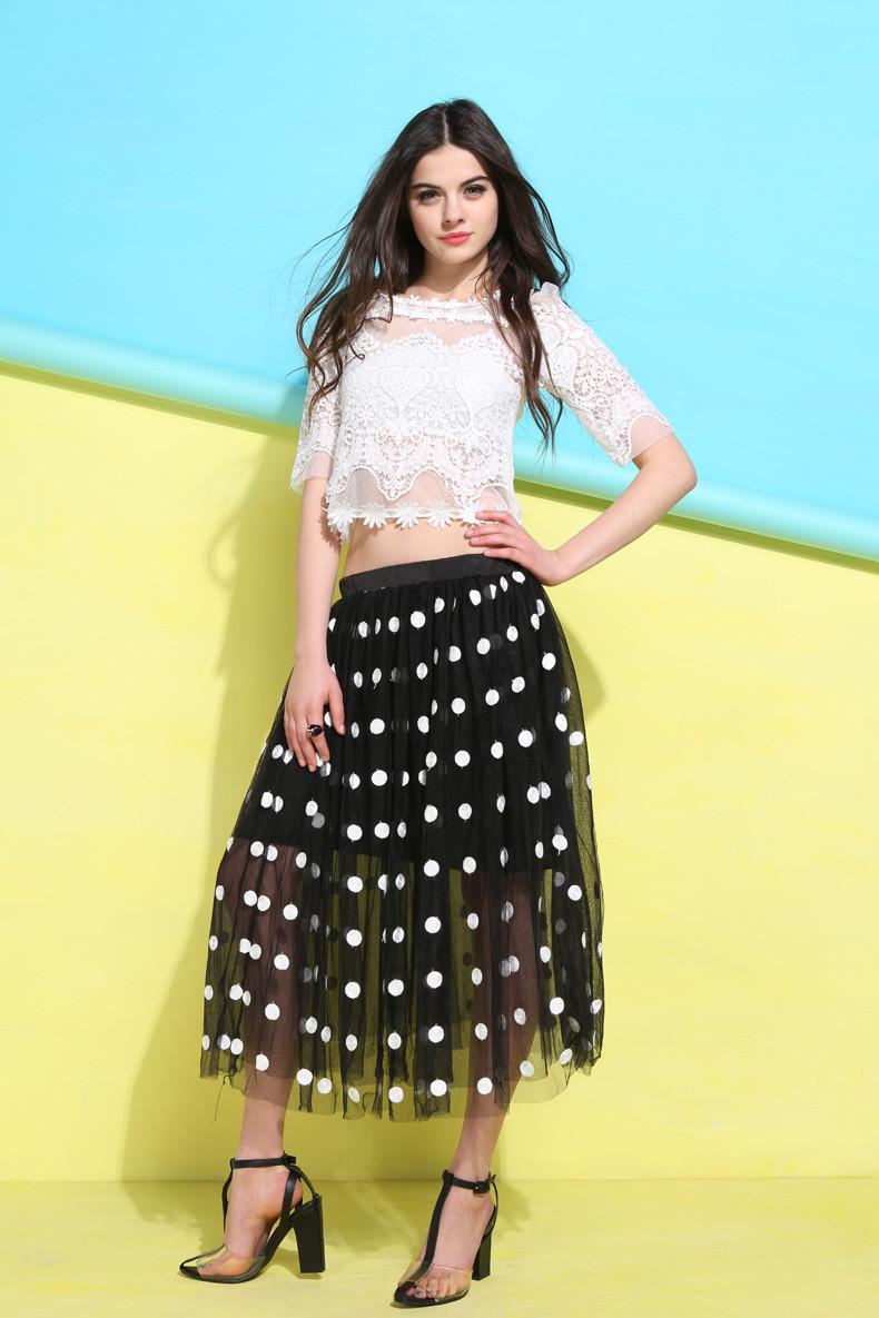 白领公社2014夏季新款甜美洛丽塔蕾丝波点纱网半身裙