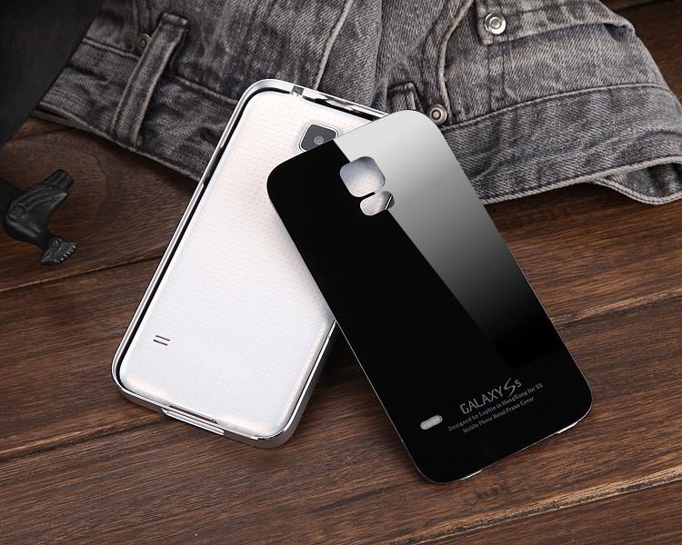三星s5手机壳 i9600外壳g9008v金属边框钢化玻璃后盖