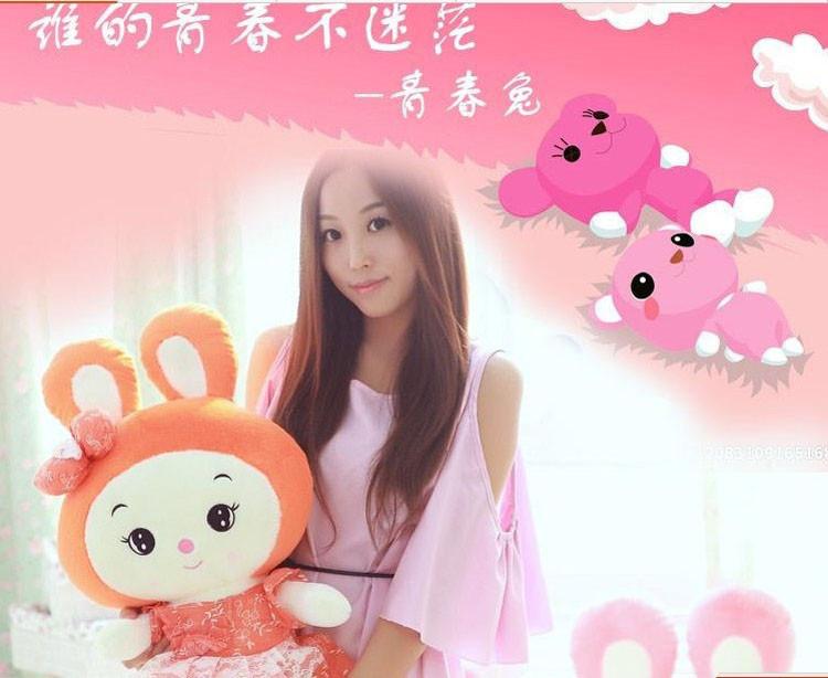 白领公社 2014新款可爱卡通公主兔兔毛绒公仔玩偶 粉红色40cm