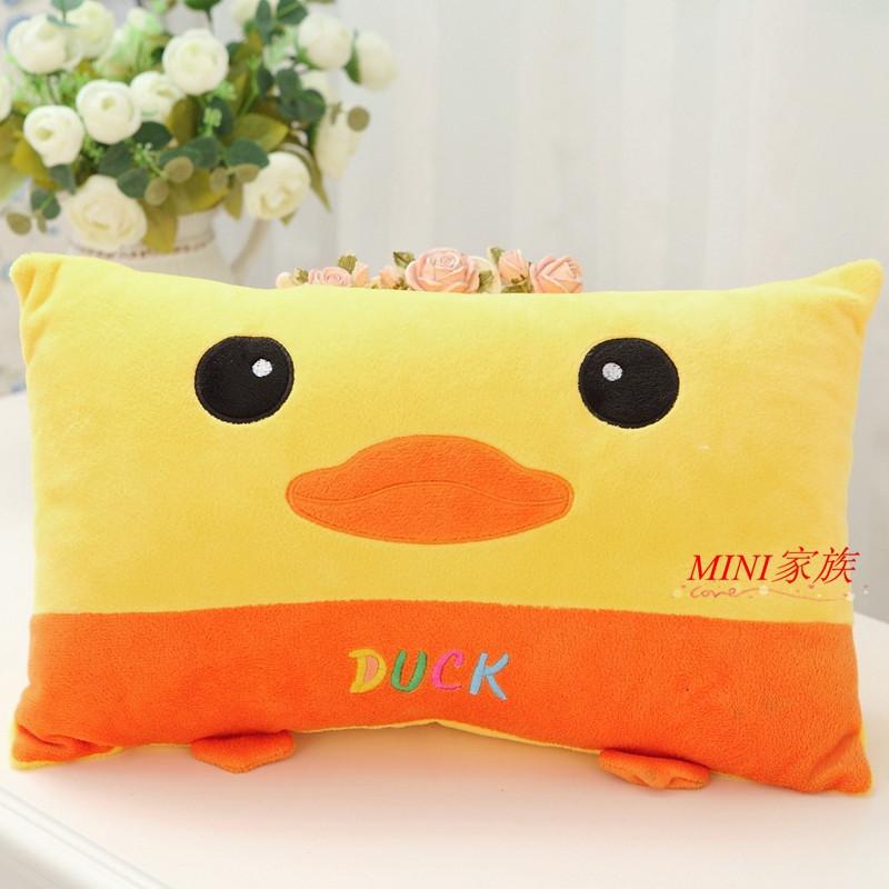 可爱小鸭子卡通枕头学生枕头长方形抱枕靠垫儿童