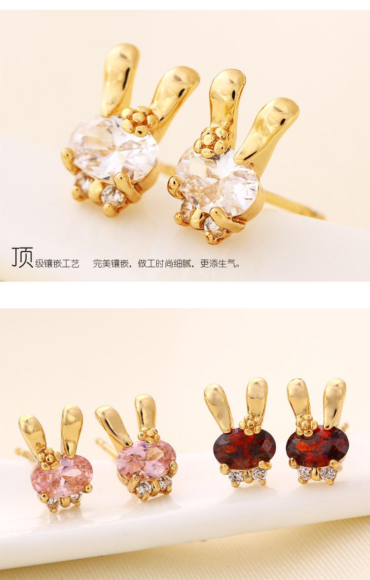 镀金韩国气质可爱动物锆石兔子耳环女