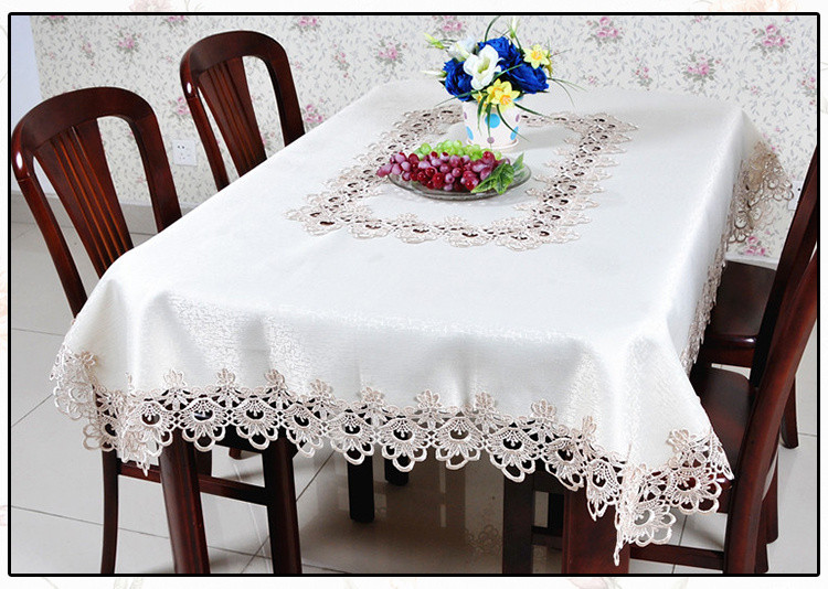 欧式田园刺绣花镂空圆布艺餐桌台布桌布椅垫椅套套装桌旗茶几布 一号