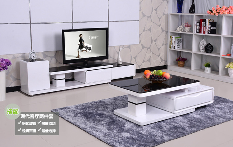有居(uzjuz)客厅家具茶几+电视柜组合-276黑白钢琴